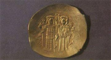 Χρυσό βυζαντινό νόμισμα.