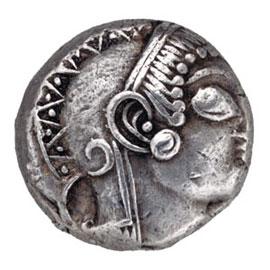Η γλαυκώπις Αθηνά σε αρχαϊκό αθηναϊκό τετράδραχμο. Εντυπωσιακό παράδειγμα σφαιρικής απόδοσης του ματιού.