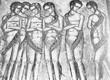 Οι φιλήδονες. Εξωνάρθηκας μονής Δοχειαρίου Αγίου Όρους, 1568.