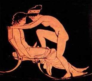 Ερωτική σκηνή ζεύγους όπου τα πρόσωπα σχηματίζουν έναν κλειστό κύκλο υπογραμμίζοντας την τρυφερότητα της έκφρασής τους.