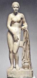 Η Αφροδίτη της Κνίδου. Ρωμαϊκό αντίγραφο έργου του Πραξιτέλη. Λέγεται ότι η Φρύνη υπήρξε το μοντέλο για το έργο αυτό.
