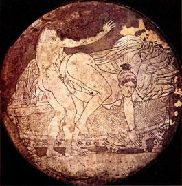 Ερωτική σκηνή σε ορειχάλκινο καθρέφτη από την Κόρινθο. Μέσα του 4ου αι. π.Χ. Μουσείο Καλών Τεχνών Βοστώνης.