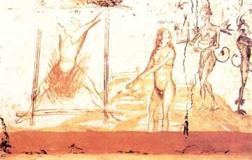 Η τιμωρία του πόρνου (μοιχού) και της ματαιόδοξης (από εκκλησία της Καστοριάς).