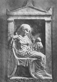 Επιτύμβια στήλη της Αμφαρέτης με το εγγόνι της, περ. 430/20 π.Χ., Μουσείο Κεραμεικού.