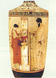 Αττική λευκή λήκυθος, 470-460 π. Χ. Νεκρική στήλη χωρίζει τον επισκέπτη του τάφου από το αγόρι.