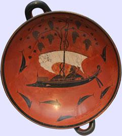 Ο Διόνυσος ταξιδεύει με το πλοίο του. Κύλικα του Εξηκία (530 π.Χ.), Μόναχο.