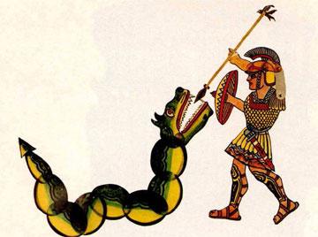 Ο Μέγας Αλέξανδρος και το καταραμένο φίδι. Ζελατίνα ζωγραφιστή.