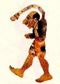 Καραγκιόζης, φιγούρα από δέρμα (Θ. Σπυρόπουλος, 1955).