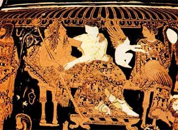 Κρατήρας του Προνόμου (αρχές 4ου αι. π.Χ.), με κεντρικά πρόσωπα τον Διόνυσο και την Αριάδνη, Εθνικό Μουσείο Νεαπόλεως.