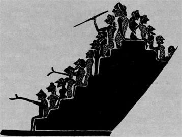 Συνωστισμένοι θεατές πάνω σε ξύλινα καθίσματα (ίκρια), όπως παριστάνονται σε αγγείο του Σοφίλου.
