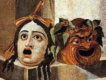 Θεατρικές μάσκες σε ψηφιδωτό της Πομπηίας. Ρώμη, Capitoline Museum, BRA2#2954.
