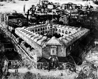 Το μεγάλο χάνι της Φιλιππούπολης. Ελαιογραφία του βούλγαρου ζωγράφου Τζάνκο Λαβρενός.