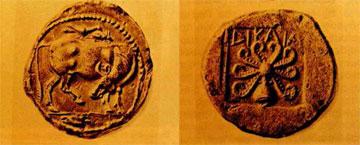 Αργυρό τετράδραχμο Δικαίας με παράσταση βοδιού στην κύρια όψη και χταποδιού στη δεύτερη, 500/475 π.Χ.