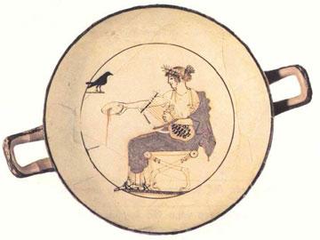 Ο Απόλλων κιθαρωδός κάνει σπονδή. Λευκή κύλικα, γύρω στο 470 π.Χ. (Μουσείο Δελφών, αρ. 8140).