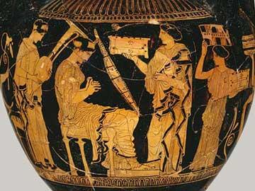 Η νύφη παίζει την τριγωνική άρπα ανάμεσα σε φίλες της. Γαμικός λέβης, γύρω στο 430 π.Χ. Μητροπολιτικό Μουσείο Νέας Υόρκης.