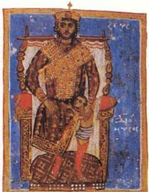 Ο Δίας - Βυζαντινός αυτοκράτορας τίκτει τον Διόνυσο από τον μηρό του (Κώδ. 6 φ. 163β).