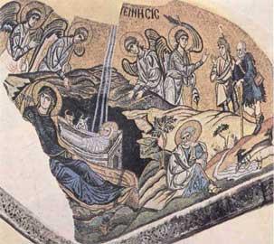 Δαφνί, Γέννηση. Ψηφιδωτό, περ. 1100.