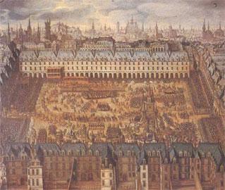Η πλατεία des Vosges στους γάμους του Λουδοβίκου ΧΙΙΙ με την Άννα της Αυστρίας. Ζωγραφική σε ξύλο, αρχές 17ου αι.
