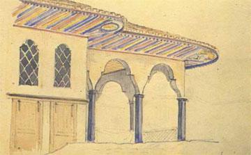 Χ. Χάνσεν, Ζωγραφισμένο τούρκικο σπίτι στη Χαλκίδα. Ακουαρέλα.