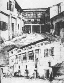 Το παλιό Πανεπιστήμιο, 1887. Σκίτσο του Ο. Φωκά.