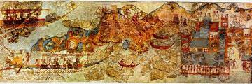 Θήρα, Δυτική οικία. Τμήμα τοιχογραφίας με πόλεις και πλοία που δηλώνουν συγκοινωνιακό δίκτυο.