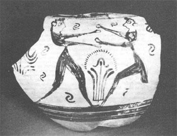 Θραύσμα αμφοροειδούς κρατήρα από την Έγκωμη, 1300-1260 π.Χ. (Βρετανικό Μουσείο).