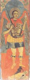 Ναός του Ευαγγελιστή Λουκά: ο Αρχάγγελος Μιχαήλ από τη βόρεια θύρα του τέμπλου (μέσα 18ου αιώνα).