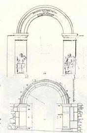 Αναπαραστάσεις της πύλης του Ηρώδη του Αττικού κατά Lebas και Mallwitz αντίστοιχα.