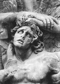 Ο Αλκυονεύς στην ανατολική ζωφόρο στην Πέργαμο. Γύρω στο 180 π.Χ., Μουσείο Περγάμου, Βερολίνο.