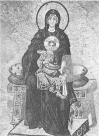 Ένθρονη βρεφοκρατούσα στην κόγχη του ιερού. Ψηφιδωτό του 9ου αιώνα από την Αγία Σοφία στην Κωνσταντινούπολη.