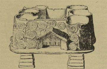 Λάρνακα από τη Μήλο. Μικρογραφία καλύβας (3η χιλιετία π.Χ.).