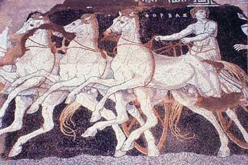 Η αρπαγή της Ελένης από το Θησέα, λεπτομέρεια από ψηφιδωτό δάπεδο της Πέλλας (περ. 300 π.Χ.).