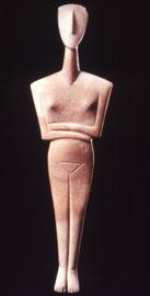 Ειδώλιο γυναικείας μορφής, Πρωτοκυκλαδική ΙΙ περίοδος, φάση Σύρου, 2800-2300 π.Χ. Μουσείο Κυκλαδικής Τέχνης.