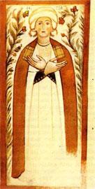 Δωρήτρια μοναχή σε τοιχογραφία του ναού του Σωτήρος (Κακοδίκι Σελίνου). Gerola, Monumenti Veneti, τόμ. 2, πίν. 9, εικ. 1.