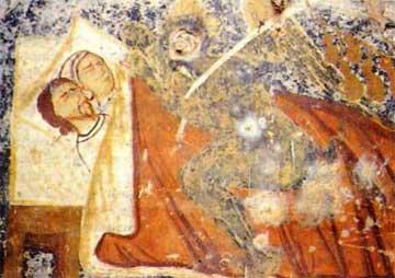 «Οι κοιμούντες την αγία Κυριακήν». Χριστός στην Αγία Ειρήνη Σελίνου (1357-58).