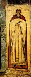 Η αφιερώτρια Καλή με βυζαντινή ενδυμασία. Μονή Κεράς Πεδιάδας Ηρακλείου, 14ος αι.