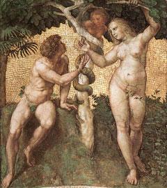 Ο Αδάμ και η Εύα. Τοιχογραφία οροφής του 1509-1511, Palazzi Pontifici, Βατικανό.