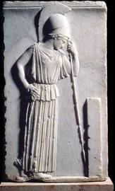 Ανάγλυφο της «Σκεπτόμενης Αθηνάς», μέσα 5ου αι. π.Χ., Μουσείο Ακροπόλεως.