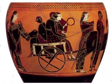 Η γαμήλια άμαξα με τη νύφη, το γαμπρό και τον πάροχο. Μελανόμορφο αττικό αγγείο του ζωγράφου του Άμαση, 550 π.Χ.