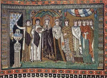 Η Θεοδώρα με την ακολουθία της σε ψηφιδωτό του 6ου αι. από τον Άγιο Βιτάλιο στη Ραβέννα.