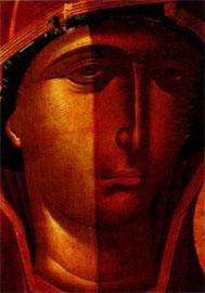 Θεοτόκος Βρεφοκρατούσα, «Οδηγήτρια», Μουσείο Μπενάκη αρ. 3018. Στάδιο καθαρισμού της ζωγραφικής επιφάνειας.