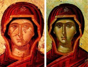 Το κεφάλι της Παναγίας α) πριν από τη συντήρηση και β) μετά τον καθαρισμό και την αισθητική αποκατάσταση.