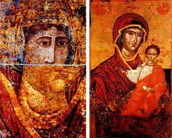 Δεξιά, Παναγία Βρεφοκρατούσα (17ος αι.). Aριστερά, το επάνω τμήμα του κεφαλιού της επιζωγραφισμένης Βρεφοκρατούσας (19ος αι.).