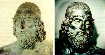 Κεφάλι ορειχάλκινου πολεμιστή του Ριάτσε, πριν και μετά την αποκατάστασή του στο C.R.A. της Φλωρεντίας.