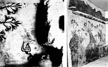 Η τοιχογραφία της ανοίξεως α) τη στιγμή της αποκάλυψής της στη Σαντορίνη και β) στο Εθνικό Αρχαιολογικό Μουσείο