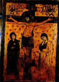 «Σταύρωση». Εικόνα με τρία στρώματα ζωγραφικής (9ος, 10ος, 13ος αι.). Φωτογραφία στο ορατό.