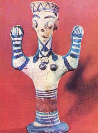 Πήλινο αγαλματίδιο θεάς, πιθανόν του 11ου αι. π.Χ. Αδιαμφισβήτητη η κρητική επίδραση. Λάρνακα, Μουσείο Πιερίδη.