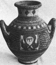 Αμφορίσκος από την Αμαθούντα με προτομή της Μεγάλης Θεάς, εμπνευσμένη από την Αιγυπτία Αθώρ. Λάρνακα, Μουσείο Πιερίδη.