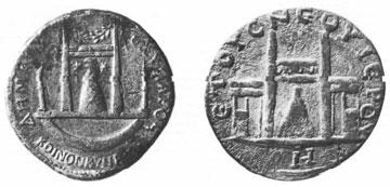 Δύο ρωμαϊκά νομίσματα με αναπαράσταση του ναού της Αφροδίτης στην Παλαίπαφο.