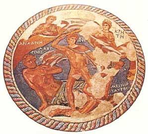 Ψηφιδωτό με το Θησέα και το Μινώταυρο από την Έπαυλη του Θησέα στη Νέα Πάφο (3ος αι. μ.Χ.).